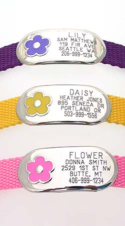 Jewelry Collar Tag with Flower Design